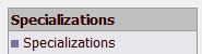 Specializations button