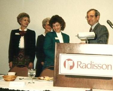 1987 first installation of officers: Irene Moore, Dorothy Rex, Becky Hooper, Clarence Cunningham.