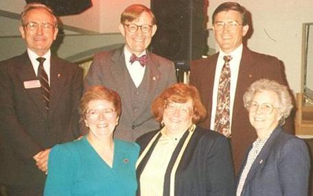 Back row – Clarence Cunningham, President E. Gordon Gee, Bobby Moser, Front row – Shirley Brooks-Jones, Jo Jones, Carlene Hamilton