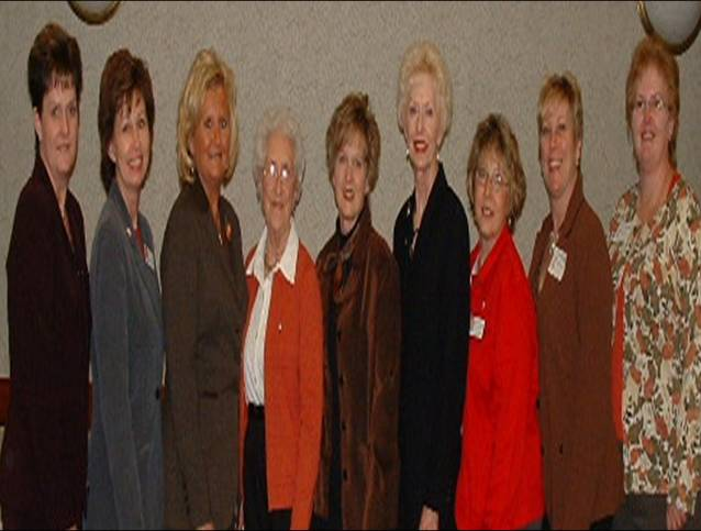 Past Presidents celebrate 10 years of CES at 1996 Annual Meeting: Pat Myers, Vickie Snyder, Cheryl Engle, Dorothy Rex, Jill King, Irene Moore, Becky Hooper, Teresa Funk, Lee Ann Johnson
