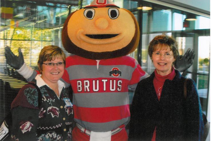 Peg Meents (Hancock County) and Linda Ferguson (Hardin County) with Brutus