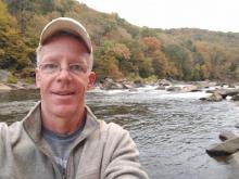 Greg Davis at the edge of the Ferncliff Peninsula, Ohiopyle PA